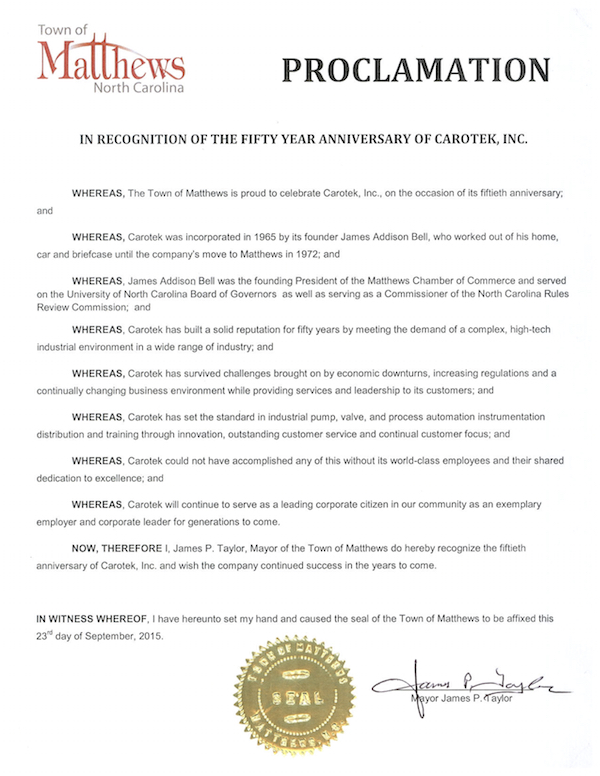 Town of Matthews Proclamation