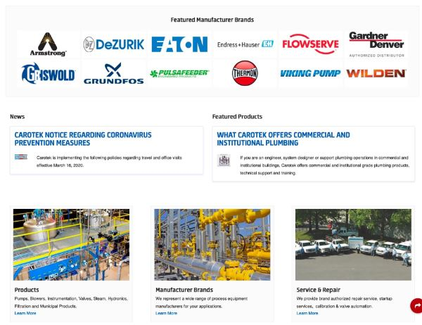 Carotek new home page section